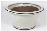 Bonsai Pot, Round, 11cm, Cream, Glazed